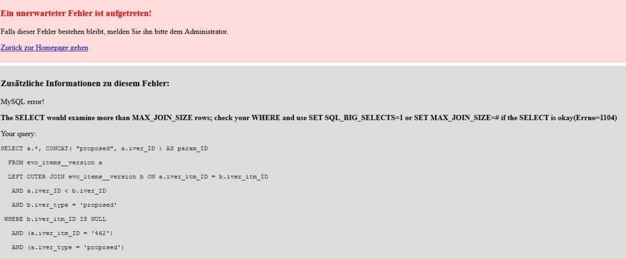 BUG Proposed - HELP - No editing No Saving: MySQL error! MAX_JOIN_SIZE rows;
