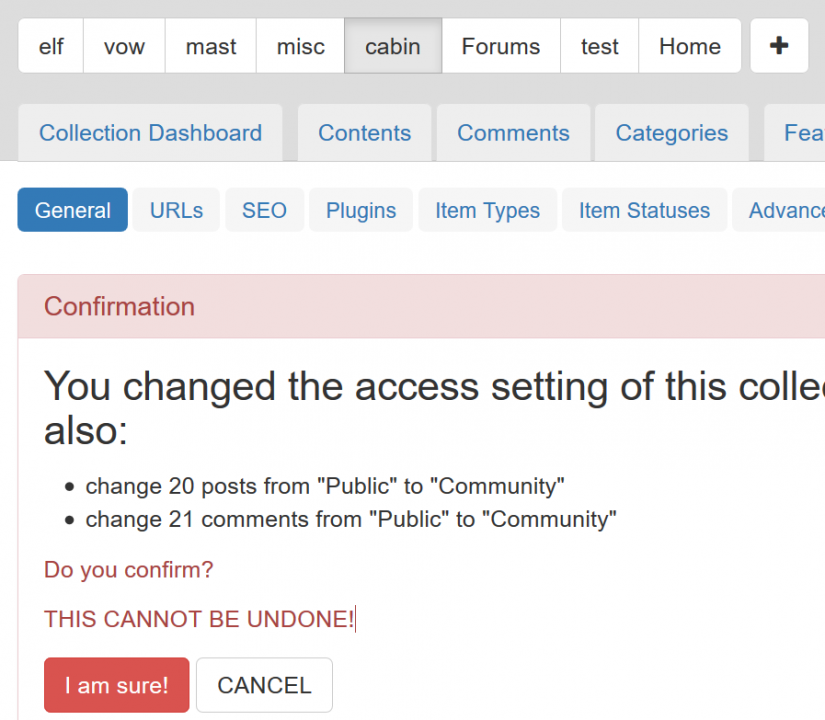 Changing collection permissions from public to members