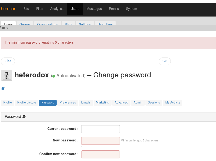 More password glitches - 20 character password elicits minimum password length 5 characters.