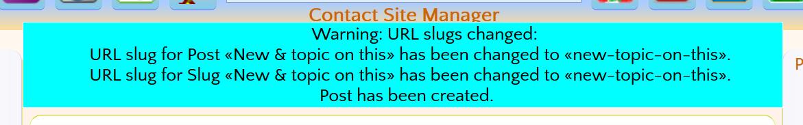 SORTED duplicate slug message NOT!