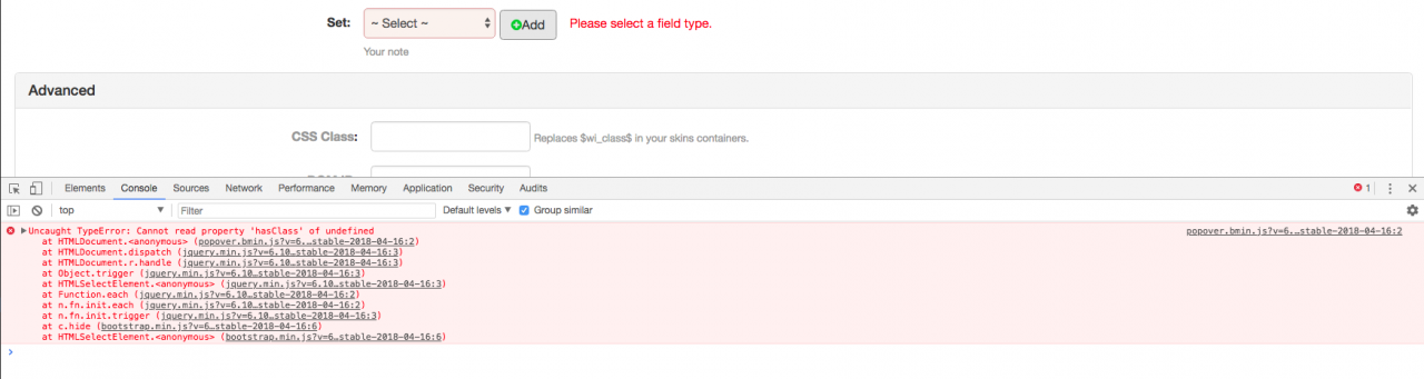 JavaScript Error popover for field_error class added dynamically
