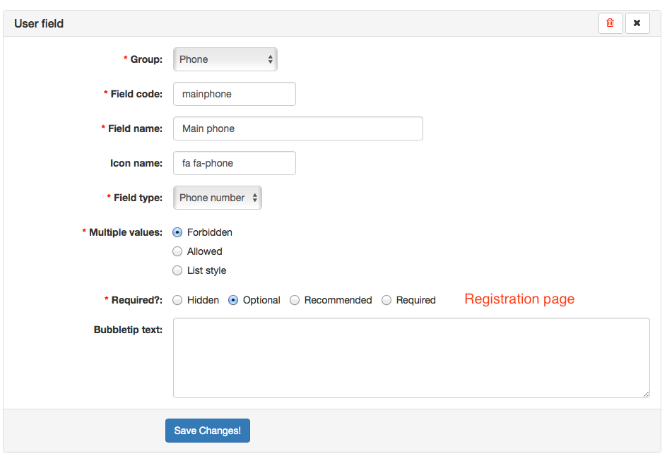 Feature request: Registration adds mores user field…
