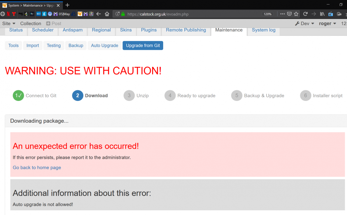 Upgrade from Git: Unexpected Error Occurred
