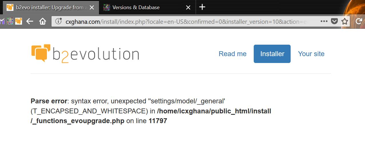 V7.0.1 upgrade error