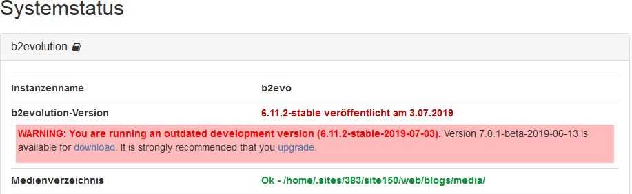 WARNING: You are running an outdated development version (6.11.2-stable-2019-07-03)