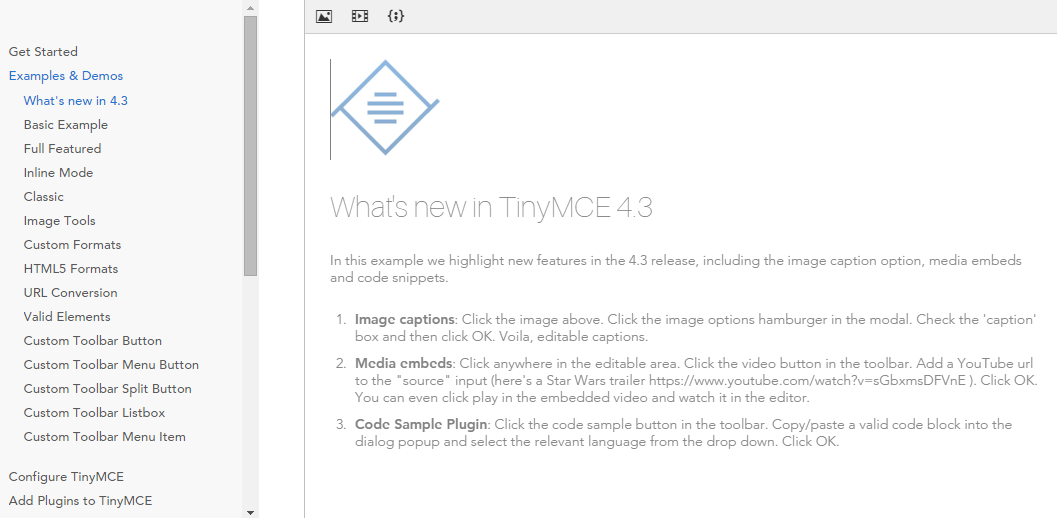 Suggest upgrade TinyMCE to v4 3 for the code highlight